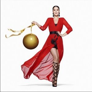 H&M Katy Perry holiday Red Chiffon Maxi Dress